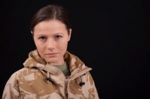 Sad female soldier